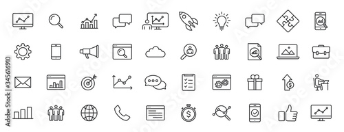 Obraz na plátne Set of 40 SEO and Development web icons in line style