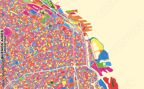 Photo Buenos Aires, Argentina, colorful vector map