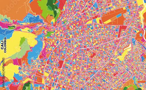Fotografie, Obraz Cali, Colombia, colorful vector map