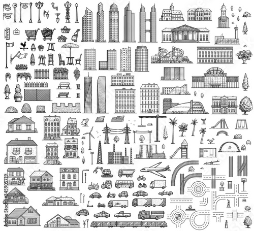 City map elements illustration, drawing, engraving, ink, line art, vector