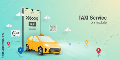 Fotografia, Obraz Taxi Service Online Concept, Taxi service application on mobile, Web banner with