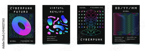 Photo Set of synthwave style posters with geometric surreal elements