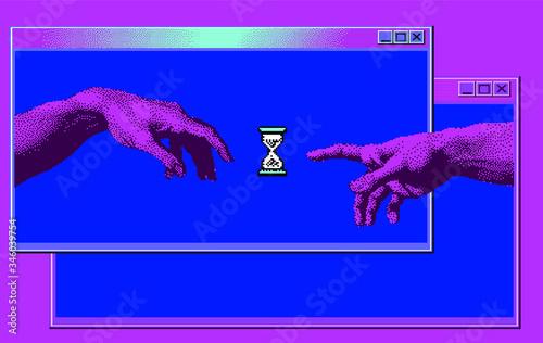Obraz na plátně Hands going to touch together online