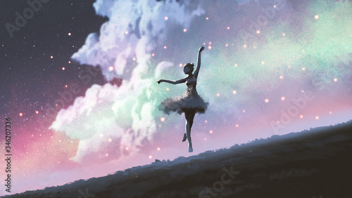 Fotografiet a ballerina dancing with fireflies on the hill against the night sky, digital ar