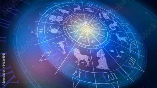 Photo Wheel chart with zodiac signs in space, astrology and horoscope