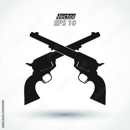 Fototapeta crossed silhouette revolvers / hand guns symbol