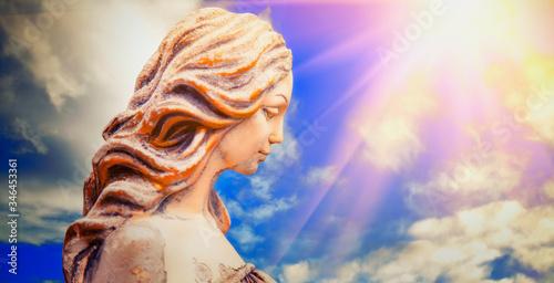 Obraz na plátně Fragment of ancient statue of Olympic goddess of love and beauty in antique mythology Aphrodite (Venus)