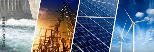 Valokuva Renewable Energy concept, collage banner