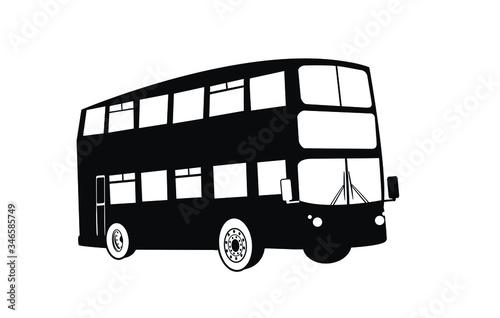 Fotografiet Double Decker bus silhouettes
