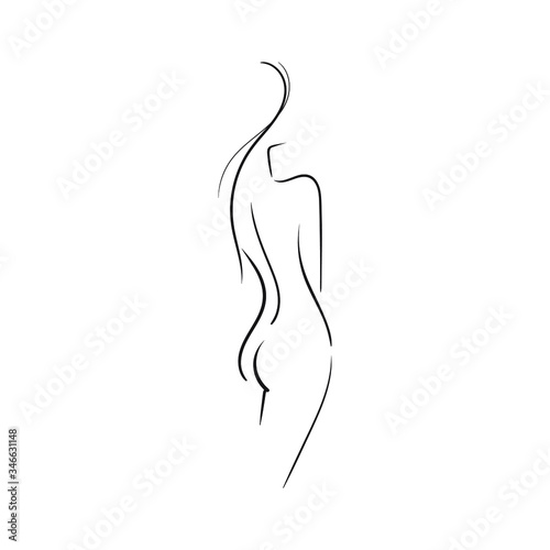 Hand-drawn Beautiful nude young woman isolated on white background.Line illustration.Beauty Logo.Stock vector illustration.