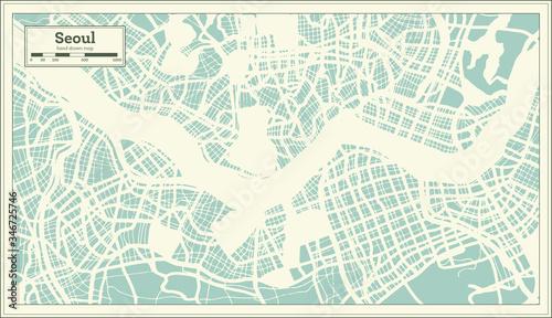 Obraz na plátně Seoul South Korea City Map in Retro Style. Outline Map.