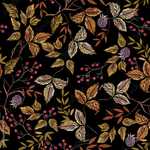 Fototapeta Embroider seamless floral pattern with autumn leaves and blackberry