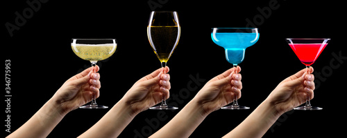 Canvas Print Set of hands holding cocktails isolated on black background