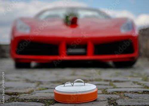 Canvas Print Engagement. Sport car. Love.
