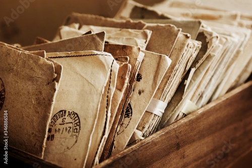 Photo Old postal paper letters of 20 century