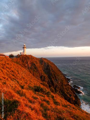 Lighthouse in a sunset at Cape Byron, Australia Fototapeta
