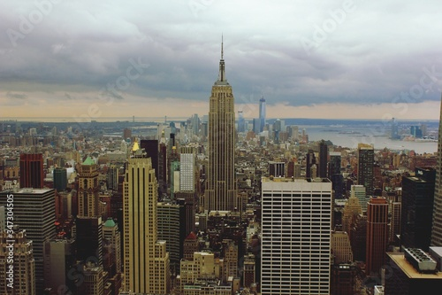 Elevated View Of New York Cityscape With Empire State Building Fototapeta