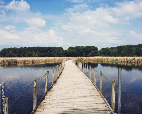 Footbridge Over Pond Against Sky Fototapet