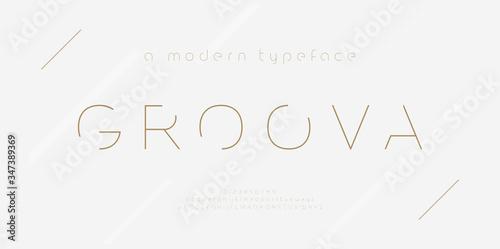 Vászonkép Abstract thin line font alphabet