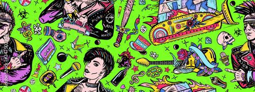 Obraz na plátně Punk rock seamless pattern