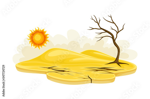Tela Arid Land and Drought as Natural Cataclysm Vector Illustration