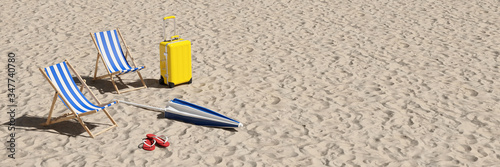 Fotografiet Two deck chairs and suitcases on the beach as a vacation concept