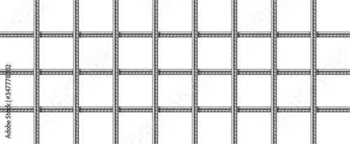 Fotografia Steel grid from reinforced rebars, welded metal wire mesh