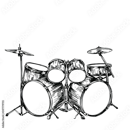 Canvas Print drum set hand drawing sketch vector