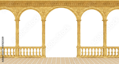 Fotografie, Obraz Classical greek colonnade with a balustrade and columns - 3d rendering
