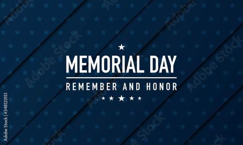 Obraz na plátně Memorial Day Background Vector Illustration. Remember and Honor.