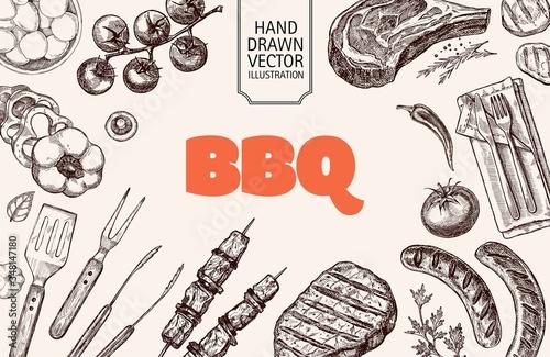 Stampa su Tela Set of barbecue elements drawn in vector