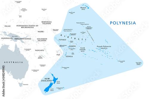 Canvas Print Polynesia, subregion of Oceania, political map