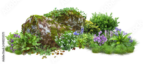 Photo Cutout rock surrounded by flowers