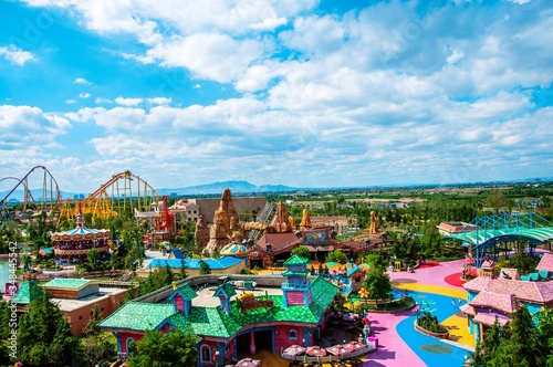 Canvas High Angle View Of Amusement Park