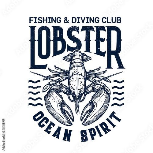 Fototapeta T-shirt print with lobster