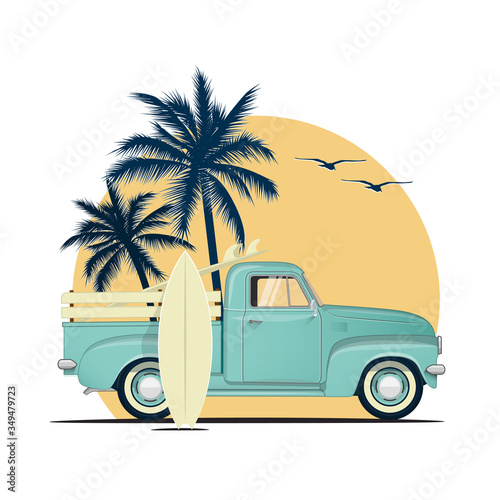 Fotografia Surfing retro pick up truck with surf boards on sunset with palm silhouettes