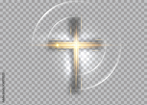 Photo cross of light, shiny Cross with golden frame symbol of christianity