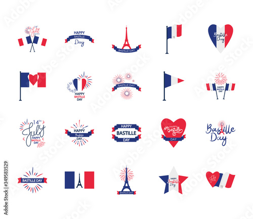 Fotografie, Obraz french flags and Bastille day icon set, flat style