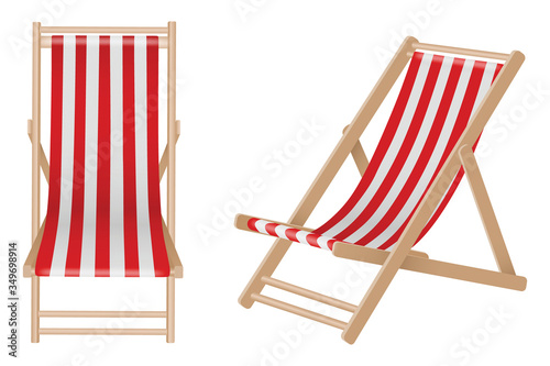 Isolated beach wooden deck chairs Fototapet