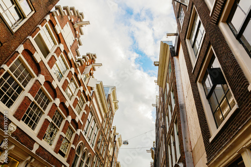 alley in low angle view in Amsterdam