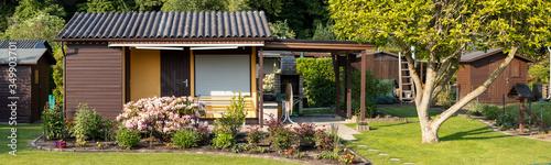 Fotografia, Obraz view into a allotment garden with a tiny house
