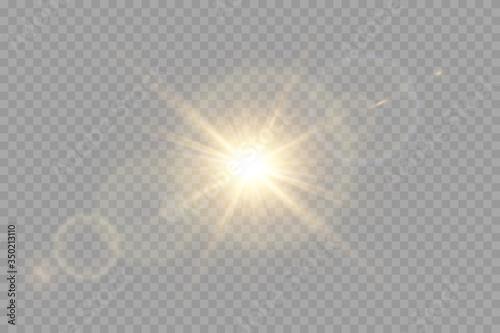 Canvas Print Vector transparent sunlight special lens flare light effect.