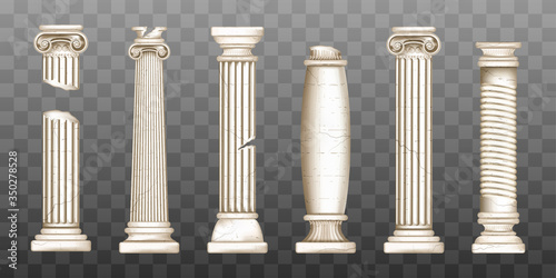 Ancient roman columns, marble baroque architecture Fototapeta