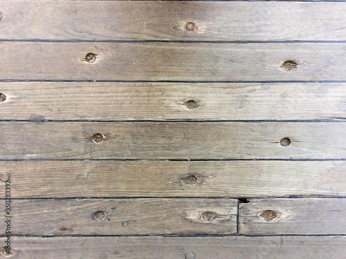 Polished shiny woden wood deck on navy ship on USS Iowa naval warship destroyer Fototapete