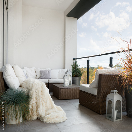 Canvas Print Balcony with wicker furniture