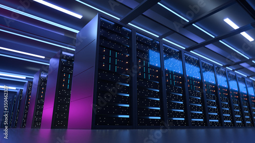 Fotografía Working Data Center Full of Rack Servers and Supercomputers, Modern Telecommunications, Artificial Intelligence, Supercomputer Technology Concept