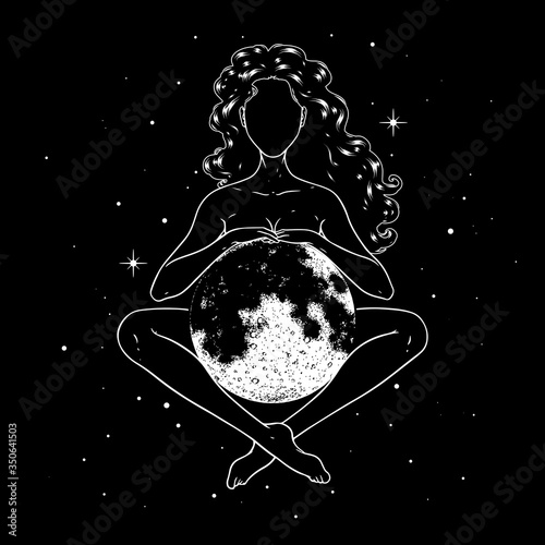 Canvas-taulu Beautiful woman meditating with full moon in space, goddess symbol
