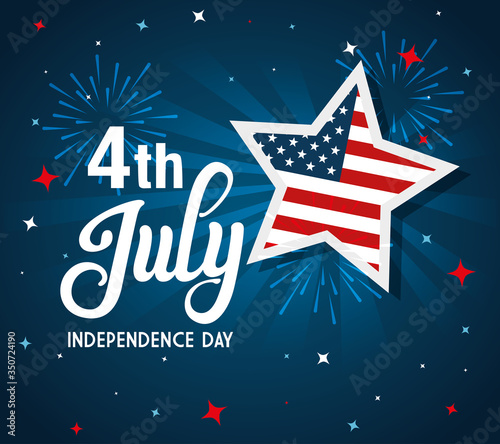Fotografia 4 of july happy independence day with stars and flag usa vector illustration des