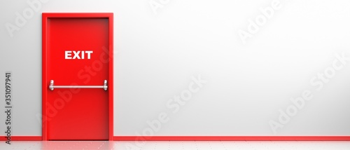 Canvas Print Fire exit sign on a red door in white color building interior background