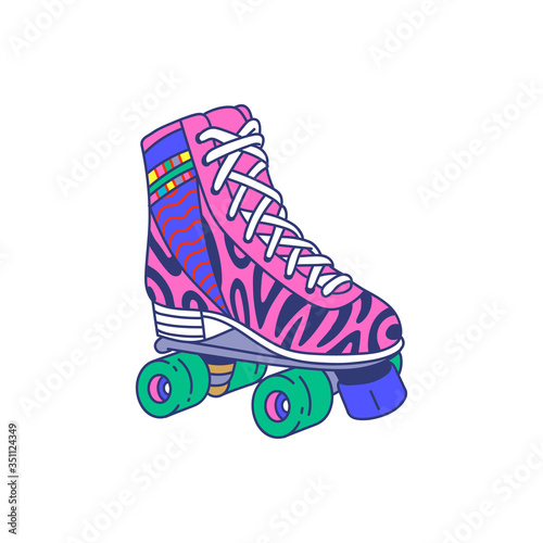 Fototapeta Pink roller skate quad shoe with colorful retro pattern and four green wheels